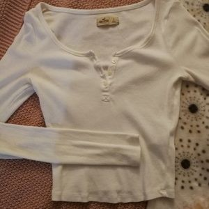 Hollister Cropped White Henley Longsleeve